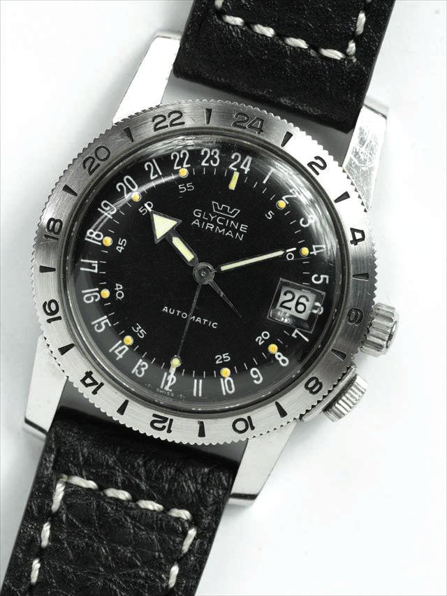 d71b387682 希少オリジナル 60's GLYCINE AIRMAN 24時間パイロットウォッチ VINTAGE腕時計【自動巻き】